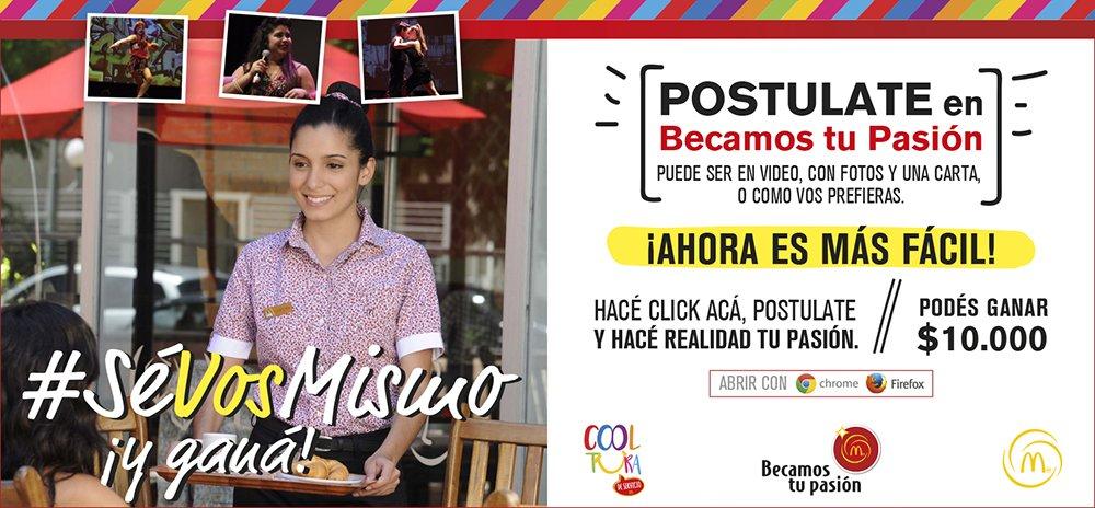 """Becas Mail Anfitrionas lanzamiento - Arcos Dorados """"Becamos tu Pasión"""""""